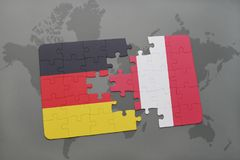 Puzzle with the national flag of germany and peru on a world map background. 3D illustration stock image