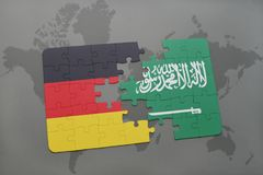 Puzzle with the national flag of germany and saudi arabia on a world map background. 3D illustration stock photo