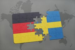 Puzzle with the national flag of germany and sweden on a world map background. 3D illustration stock photos
