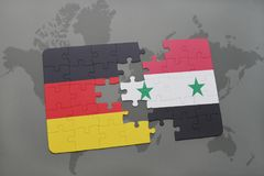 Puzzle with the national flag of germany and syria on a world map background. 3D illustration royalty free stock photos