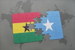 Puzzle with the national flag of ghana and somalia on a world map. Background. 3D illustration royalty free stock photography