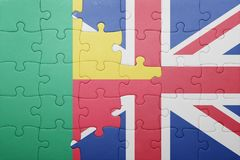 Puzzle with the national flag of great britain and benin Stock Photos
