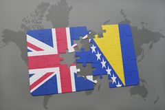 Puzzle with the national flag of great britain and bosnia and herzegovina on a world map background. Concept Stock Image