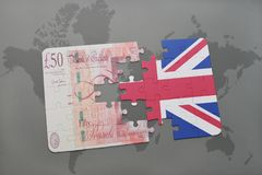 Puzzle with the national flag of great britain and british pound on a world map background. 3D illustration Royalty Free Stock Photography