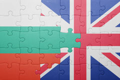 Puzzle with the national flag of great britain and bulgaria Royalty Free Stock Photography