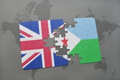 Puzzle with the national flag of great britain and djibouti on a world map background. Royalty Free Stock Image