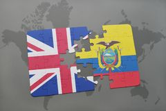 Puzzle with the national flag of great britain and ecuador on a world map background. Stock Image