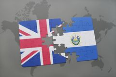 puzzle with the national flag of great britain and el salvador on a world map background. Stock Image