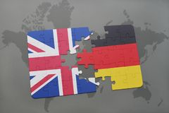 Puzzle with the national flag of great britain and germany on a world map background. Concept stock illustration