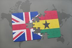 Puzzle with the national flag of great britain and ghana on a world map background. 3D illustration Royalty Free Stock Photography