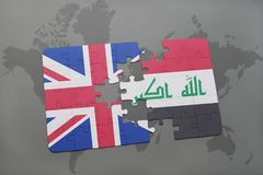 Puzzle with the national flag of great britain and iraq on a world map background. Concept Royalty Free Stock Images