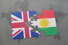 Puzzle with the national flag of great britain and kurdistan on a world map background. Stock Photos