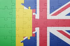 Puzzle with the national flag of great britain and mali Stock Image