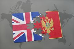 Puzzle with the national flag of great britain and montenegro on a world map background. Concept Royalty Free Stock Photos