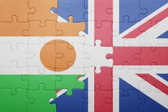 Puzzle with the national flag of great britain and niger Stock Image