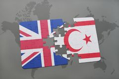 Puzzle with the national flag of great britain and northern cyprus on a world map background. Stock Photography