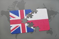 Puzzle with the national flag of great britain and poland on a world map background. Concept royalty free illustration