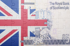 Puzzle with the national flag of great britain and scottish banknote Stock Photos
