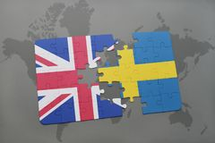 Puzzle with the national flag of great britain and sweden on a world map background Royalty Free Stock Photos