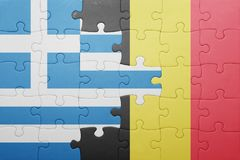 Puzzle with the national flag of greece and belgium Royalty Free Stock Photos