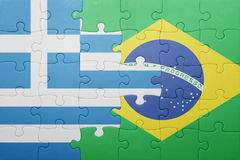 Puzzle with the national flag of greece and brazil Stock Photography