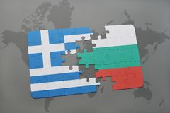 Puzzle with the national flag of greece and bulgaria on a world map background. 3D illustration royalty free stock photography