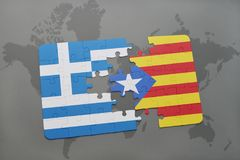Puzzle with the national flag of greece and catalonia on a world map background. 3D illustration stock image