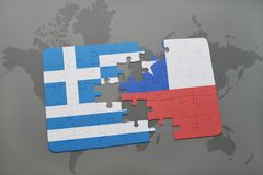 Puzzle with the national flag of greece and chile on a world map background. Royalty Free Stock Image