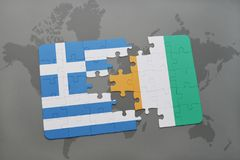 Puzzle with the national flag of greece and cote divoire on a world map background. 3D illustration Royalty Free Stock Image