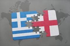 Puzzle with the national flag of greece and england on a world map background. Stock Image