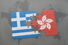 Puzzle with the national flag of greece and hong kong on a world map background. 3D illustration stock image