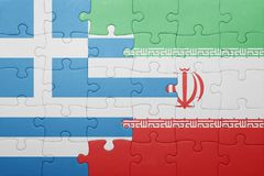 Puzzle with the national flag of greece and iran Stock Images