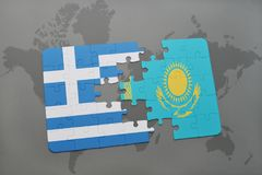 Puzzle with the national flag of greece and kazakhstan on a world map background. Royalty Free Stock Images
