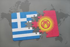 Puzzle with the national flag of greece and kyrgyzstan on a world map background. Stock Images