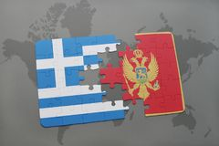 Puzzle with the national flag of greece and montenegro on a world map background. 3D illustration stock image