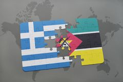 Puzzle with the national flag of greece and mozambique on a world map background. 3D illustration Stock Photos
