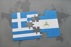 Puzzle with the national flag of greece and nicaragua on a world map background. 3D illustration royalty free stock images