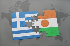 Puzzle with the national flag of greece and niger on a world map background. 3D illustration stock photography