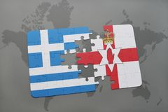 Puzzle with the national flag of greece and northern ireland on a world map background. 3D illustration Stock Image