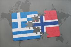 Puzzle with the national flag of greece and norway on a world map background. 3D illustration Stock Photo