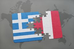 Puzzle with the national flag of greece and peru on a world map background. Royalty Free Stock Photography