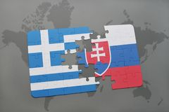 Puzzle with the national flag of greece and slovakia on a world map background. Stock Images