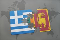 Puzzle with the national flag of greece and sri lanka on a world map background. 3D illustration royalty free stock photos
