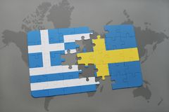 Puzzle with the national flag of greece and sweden on a world map background. 3D illustration Stock Images