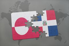 puzzle with the national flag of greenland and dominican republic on a world map background. Stock Image