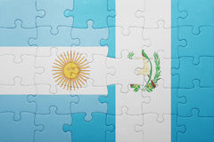 Puzzle with the national flag of guatemala and argentina Stock Image