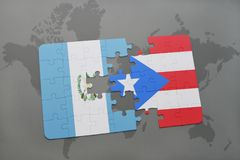 Puzzle with the national flag of guatemala and puerto rico on a world map background. 3D illustration Stock Image