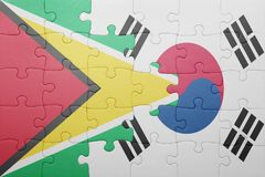 Puzzle with the national flag of guyana and south korea. Concept stock photos