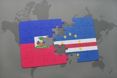 Puzzle with the national flag of haiti and cape verde on a world map Stock Image