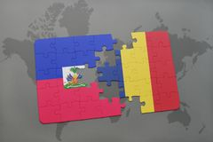 Puzzle with the national flag of haiti and chad on a world map Royalty Free Stock Images